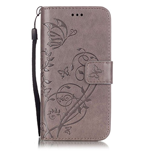 iPhone Case Cover Embossed Blumen Schmetterling Fall Deckung Wallet Stand Case mit Handschlaufe für iPhone 7 ( Color : Red , Size : IPhone 7 ) Gray