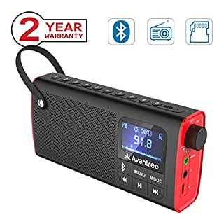 Avantree 3 in 1 Portable Fm Radio, Mini Bluetooth Lautsprecher Digital SD Card Player, Auto Scan Save, LED Display, Wechselbar Akku - SP850