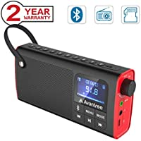 Avantree 3-in-1 Portable FM Radio with Bluetooth Speaker and SD Card Player