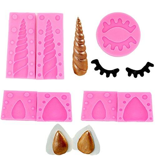 Juego moldes silicona tartas unicornio orejas fondant