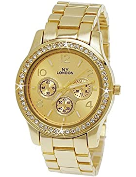 NY London designer Strass Damenuhr Damen Armband Uhr Chronograph Optik Gold inkl. Uhrenbox