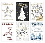 Set 6 exklusive Premium Weihnachtskarten mit feiner Prägung und Umschlag. Doppelkarten/Klappkarten mit Briefumschlag. Weihnachten Karte Postkarte Weihnachtspostkarte
