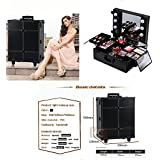 UNHO Makeup Cosmetic Train Case 6 Bulbs Studio Beauty Box with Cosmetic Storage Trays