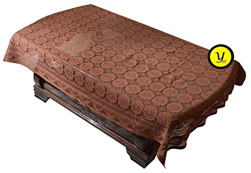 Yellow Weaves Exclusive Design Center Table Cover Net Cloth 40X60 Inches (Brown)