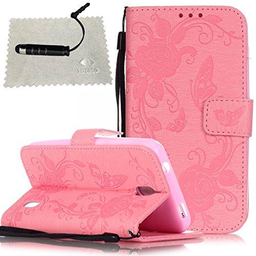 Cover per Apple iPhone 7 Plus Flip Cover Rose,iPhone 7 Plus Custodia in Pelle,TOCASO Anti-Theft Chiusura Magnetica Puro Morbido Custodia Protettiva Farfalla Fiori Modello Bumper Wallet Case Sottile Bo Rosa