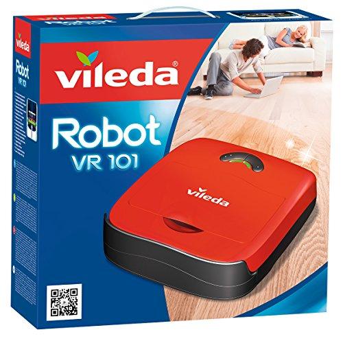 Vileda VR 101 - Robot aspirador y escoba para suelos duros y alfombras de pelo corto, 2 programas de limpieza, sensores de desnivel, depósito de suciedad de 0,37 litros, 65 decibles, color rojo