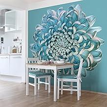 Bilderwelten Fotomural - Crisantemo Azul - Mural cuadrado papel pintado fotomurales murales pared papel para pared foto 3D mural pared barato decorativo, Tamaño: 192cm x 192cm