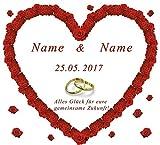 Personalisiertes Hochzeitsherz zum Ausschneiden für das Brautpaar mit Namen und Datum für das Hochzeitsspiel und zur Hochzeitsdekoration, Sprache Ihrer Wahl.