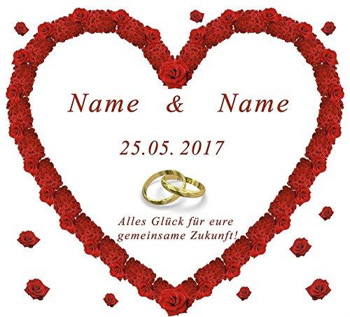 Personalisiertes Hochzeitsherz zum Ausschneiden für das Brautpaar mit Namen und Datum für das Hochzeitsspiel und zur Hochzeitsdekoration, Sprache Ihrer Wahl. (Tuch Farbe Oben)