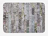 AoLismini Bedruckter Badteppich aus Holz, pastellfarbene Eichendielen in einem Bauernhaus, natürlicher Lebensstil, weiche Badematte mit Rutschfester Unterlage, Mehrfarbig