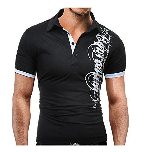 Elecenty Herren Sommerbluse T-shirt,Drucken Polo Blusen Umlegekragen Pulli Blusentop Männer Kurzarm-Shirt Sommerhemd Tops Haushemd Mode Pullover Freizeithemd Bluse (3XL, Schwarz)
