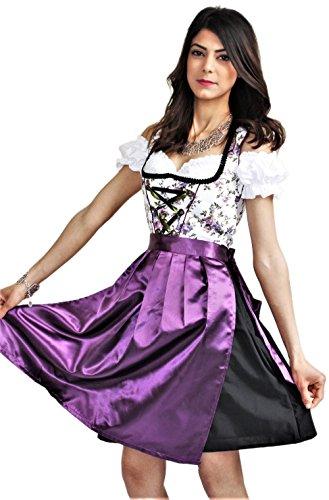 ndl Trachtenkleid Kleid 3tlg mit Dirndlbluse und Schürze Geblümt Farbe Lila Schwarz Wiesn Midi Oktoberfest (Größe 34) ()