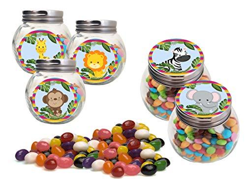 Irpot set barattolini con adesivi e jelly beans per gadget fai da te fine festa a tema (animali della giungla)