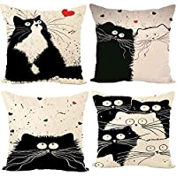 Freeas Set of 4 Cat Pillow Cases, Throw Cushion Cover Cotton Linen Pillowcase Home Decoration,45x45cm