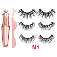 Beesuya 3 Pairs Magnetic Eyelashes And Magnetic Eyeliner Liquid Kit Long Lasting Waterproof Reusable Natural Look Fake Eyelashes With Tweezers, No Glue Required pretty well biological