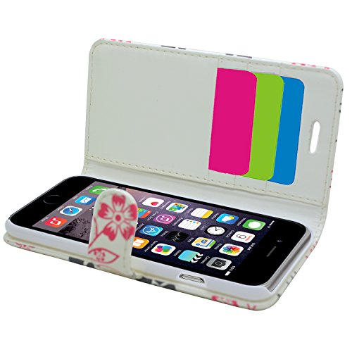 SAMRICK Executive Floral Flowers Étui portefeuille en cuir pour iPhone 6/6S-Blanc/Rose blanc