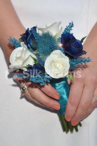 See Türkis Holly Distel Mini Blumenstrauß, Rosen und Navy Heather (Heather See)