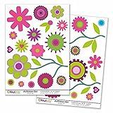 Kiwistar Retro Wiesenset Deko Blumen Wiese , Wandsticker Set Bogen Aufkleber farbig DIN A4