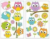 plot4u 16-teiliges Baby Eulen Wandtattoo Set Kinderzimmer Babyzimmer in 5 Größen (2x27x43cm Mehrfarbig)