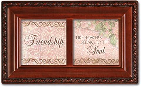 Friendship Petite Woodgrain Music Box Plays Friends Are For by Cottage Garden