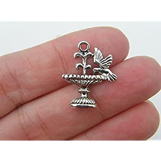 6 Bird Bath Charms Antique Silver Tone B52 6 Bird Bath Charms Antique Silver Tone B52 51A5BzY27VL
