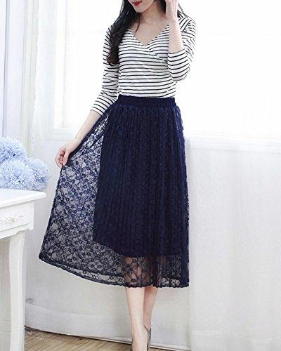 Femme jupe plissée en Dentelle - Jupe mi Longue Eté - Ceinture Élastique Bleu Marine