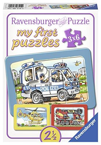 Ravensburger 06115 – Feuerwehr, Polizei, Rettungshubschrauber, my first puzzles 3×6 Rahmenpuzzle