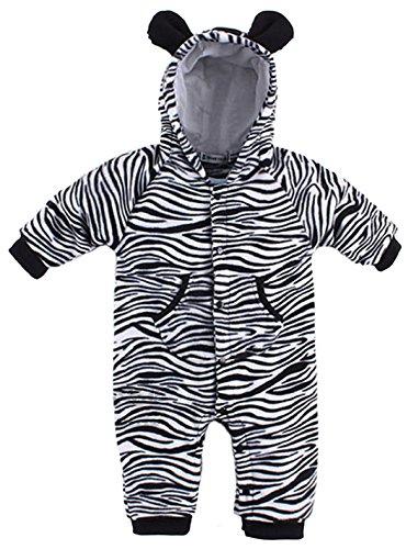 Bubbu Babymode Baby Strampler Kuschel Tiere \'Fleece\' | Babystrampler langarm | Giraffe, Zebra, Elefant, Hase, Größe:18-24 Monate;Modell:Zebra