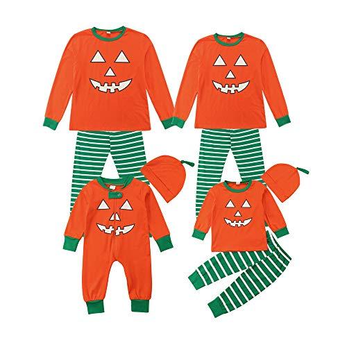 Red Kostüm Leisure Suit - Hupoop  Neugeborenes Baby Mädchen Langarm Halloween Kürbis One Piece Hut Eltern-Kind-Kleidung Home Service Set Pyjamas Halloween-Kostüm (Orange, 6M)