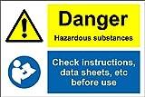 Gefahr Gefahrstoffe Überprüfen Daten Blatt Schild-Selbstklebendes Vinyl 300mm x 200mm x 200mm
