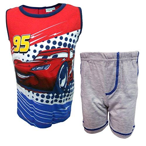 Disney completo neonato spalla larga pantaloncino in cotone cars nuova collezione art. wd101317 (grigio, 36 mesi)