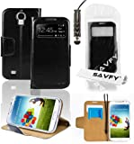SAVFY Premium Samsung Galaxy S4 SIV i9500 Flip S-View Wallet Stand PU Leather Case Cover, With Screen Protector + Stylus Pen (Flip Wallet Stand Black)