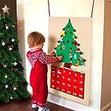 Aparty4u Felt Christmas Tree Advent Calendari per Bambini, 24 Giorni Conto alla rovescia per Natale Calendario Avvento con Tasche Regali di Natale per DIY Addobbi Natalizi Decorazioni per Appendere