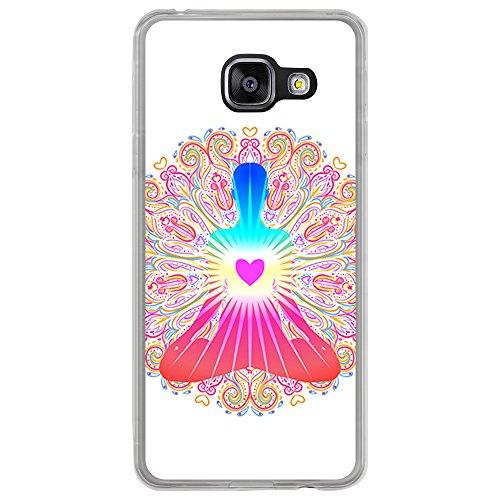 Transparente Hülle für [ Samsung Galaxy A3 2016 ], Flexible Silikonhülle, Design: Chakra Kunst, Buddhismus, innerer Frieden