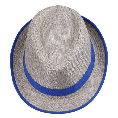 Eozy Chapeau de paille lin Style Panama Fedora Trilby avec Arc-en-Ciel bande -Brun clair -Diam. 56-58cm –Casual Mode pour Unisexe Femme Homme Eté Plage Soleil Voyage Bleue Bande