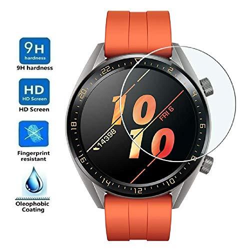 REY Protector de Pantalla para Huawei Watch GT 2 46mm - GT2, Cristal Vidrio Templado Premium