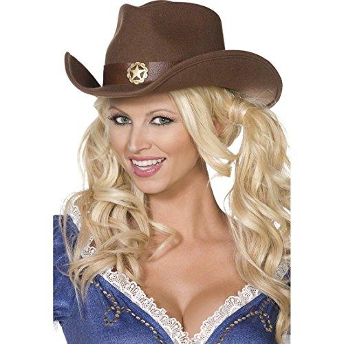 West Sheriff Erwachsene Für Kostüm Wild - Amakando Cowboyhut Westernhut braun, Unisex Wild West Cowgirl Hut Cowgirlhut Wilder Westen Partyhut Sheriff Kostüm Zubehör