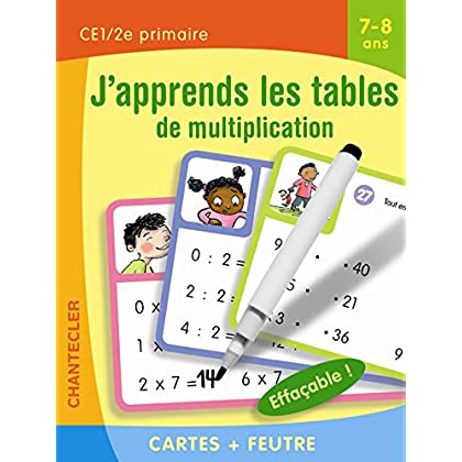Cartes + feutre - J'apprends les tables de multiplication (7-8 a.)