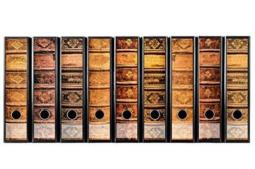 codiarts. Set 9 Stück breite Ordner-Etiketten - Alte Bücher Lederbände Vintage - Selbstklebend (Ordnerrücken Aufkleber Sticker)