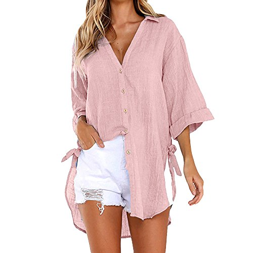 kolila Damen Plus Size Shirt Tunika Button-down V-Ausschnitt Langarm unregelmäßiger Saum Blusen Oberteile Tops mit Seite Knoten Bogen -