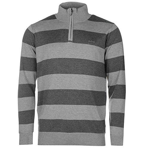 Lee Cooper Πzip maglione da uomo grigio/antracite maglione pullover top, Grey/Charcoal, S