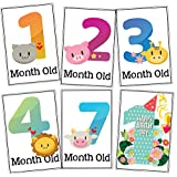 WOBBOX Baby Monthly Milestone Cards, Record 0-12 Months Growth Milestones Cards, Baby Shower Gift Scrapbook Photo Keepsake Monthly Age Markers Card (12 Pcs)