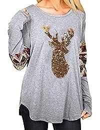 VJGOAL Mujer Otoño e Invierno Moda Casual Navidad Elk Head Lentejuelas Estampado Cuello Redondo Blusa de Manga Larga Camiseta Tops