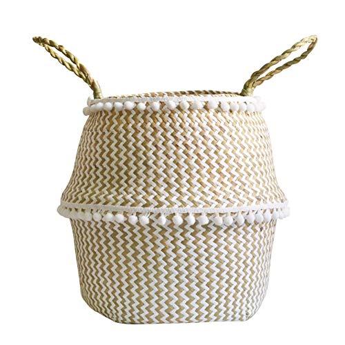 Maritown Natürliche Rattan Wicker Woven Korb, Vintage Big Belly Faltbarer Rattan für Pflanzen Blume Pflanzer Spielzeug Wäschekorb mit Griff -