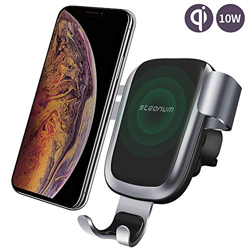 Caricatore Wireless Auto,Steanum Ricarica Rapida Wireless Auto Vento Supporto Telefono per iPhone Xs Max/Xs/Xr/X/8/8Plus,Samsung Note 9/8, Galaxy S10/S10e/S9/S8//S7/S6 Edge+,Huawei mate 10 Pro.