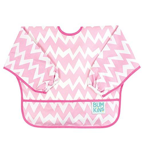 bumkins-bumksu500-sleeved-bib-bavaglino-con-maniche-rosa-pink-chevron