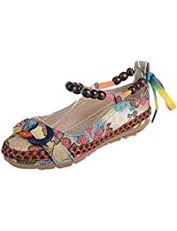 Zapatos de mujer Étnico Cuentas Punta redonda Vistoso Casual Bordado Algodón Bohemia Cómodo Flor Zapatos planos