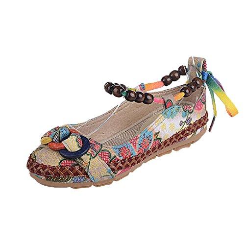 Zapatos de mujer Étnico Cuentas Punta redonda Vistoso Casual Bordado Algodón Bohemia Cómodo Flor Zapatos planos (41(CN), Multicolor)