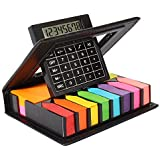 Pinzo Sticky Note Memo Pad with Arrow Flags in PU Leather Case with Built-in Calculator ,Neon Colors