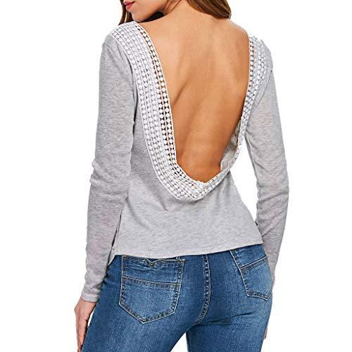 7dcd75a15160 Dragon868 Camicetta Donna Classico Grigio Backless Pizzo Camicie Maniche  Lunghe Pizzo Aperte Sexy Top Pullover